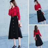 秋裝女2018新款韓版修身顯瘦印花襯衫時尚套裝裙氣質兩件套連身裙