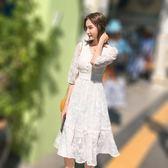 洋裝 長裙 連身裙 女裝歐根紗重工刺繡連衣裙夏蕾絲白色女裙中長款仙女裙子