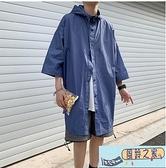 夏季連帽薄款防曬衣男寬鬆潮流中長款五分袖遮陽夾克男生帥氣外套海闊天空