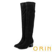 ORIN 微醺性感 燙鑽彈性絨布過膝高跟長靴-黑色