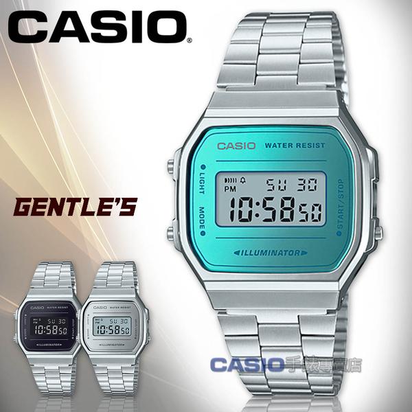CASIO 卡西歐 手錶專賣店 A168WEM-2D 復古經典電子男錶 不鏽鋼錶帶 藍綠色錶面 生活防水 碼錶功能