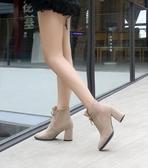 靴子高跟冬鞋女系帶尖頭大碼短靴40-43ins加絨粗跟短筒馬丁靴