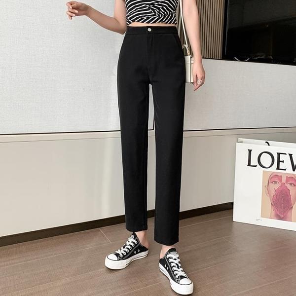 九分褲 冰絲西裝褲女夏季薄款直筒小腳煙管褲垂感西褲顯瘦小個子黑色褲子