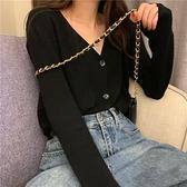 V領針織開衫女新款秋季韓版ins學生寬松百搭純色上衣毛衣外套