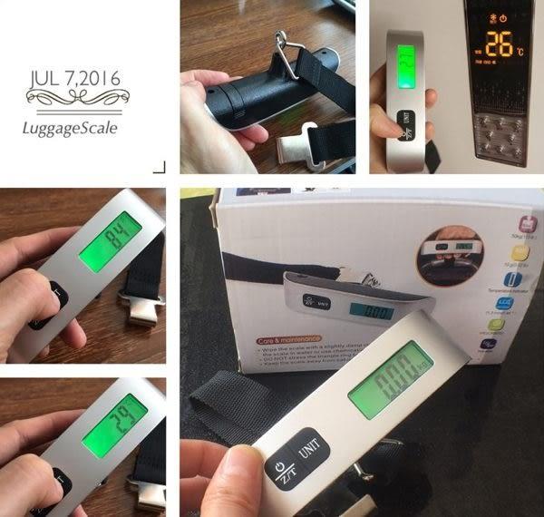 【現貨】隨身行李秤 出國必備 電子秤 50kg 多功能有溫度計