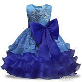 兒童禮服裙童裝女童無袖連身裙秋季花童裙禮服裙大蝴蝶結   艾維朵