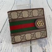 BRAND楓月 GUCCI 古馳 597606 OPHIDIA GG紋綠紅織帶短夾 二折 錢包 皮夾 錢夾 PVC塗層