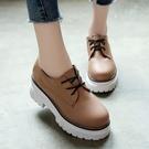 英倫風小皮鞋女秋新款鬆糕厚底平底學院風單鞋學生增高女鞋