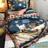 床罩組卡通風兔子小熊可愛床裙款三件套學生宿舍1.5m床圍裙全包韓式少女【公主日記】