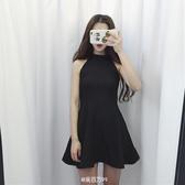 禮服女-晚禮服掛脖削肩連衣裙無袖夏季韓版女裝氣質修身黑色顯瘦裙子學生 花間公主