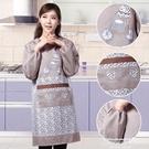 圍裙韓版時尚成人護衣罩衣廚房長袖大人反穿衣防水防油工作服 萊俐亞