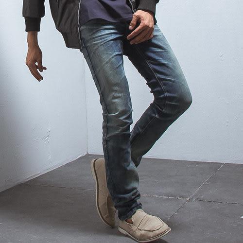 個性手工刮破造型彈力合身丹寧褲