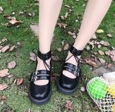 日擊新款軟妹兩穿小皮鞋厚底圓頭女鞋洛麗塔少女學生鞋可愛娃娃鞋新年交換禮物