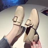 2020新款春季粗跟單鞋女英倫風小皮鞋方頭中跟仙女韓版百搭樂福鞋 polygirl