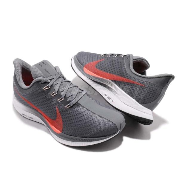 Nike 慢跑鞋 Wmns Zoom Pegasus 35 Turbo 灰 橘 React 避震中底 運動鞋 女鞋【ACS】 AJ4115-005