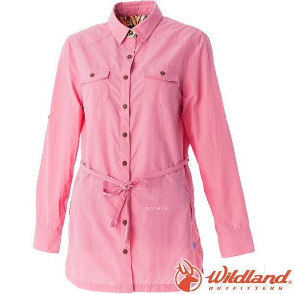 Wildland 荒野 0A51211-28珍珠粉 女 抗UV時尚長版襯衫 彈性纖維/顯瘦修身剪裁/防曬小罩衫/薄長袖