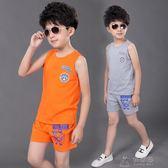 男童背心套裝中大童兒童夏裝男寶寶夏季運動短袖短褲衣服     俏女孩