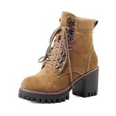 短靴女 粗跟短靴 秋冬新款磨砂大碼40-43碼女靴馬丁靴女系帶單靴高跟靴子《小師妹》sm2772