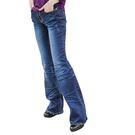 喇叭褲--獨特魅力褲頭豹紋刷白壓皺褶喇叭牛仔長褲(XL-7L)-N99眼圈熊中大尺碼◎