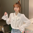 雪紡衫 白色襯衫女設計感小眾2021新款春款雪紡衫蝴蝶結上衣內搭長袖襯衣 愛丫 新品