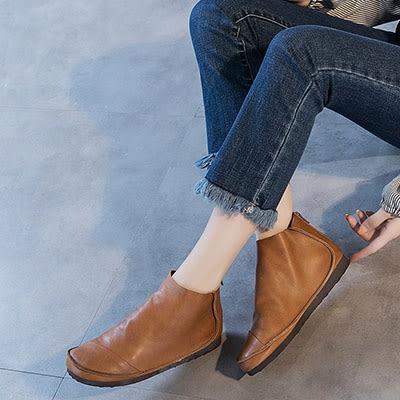 真皮短靴 森系休閒鞋 平底馬丁靴-標準碼-夢想家-0730