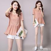 七分袖T恤 大碼棉麻t恤女夏季新款甜美韓版高腰顯瘦圓領文藝范短袖上衣  瑪麗蘇