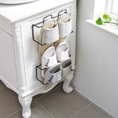 粘貼式鐵藝鞋架浴室拖鞋架子家用客廳創意鞋托架吸壁掛式鞋收納架 道禾生活館