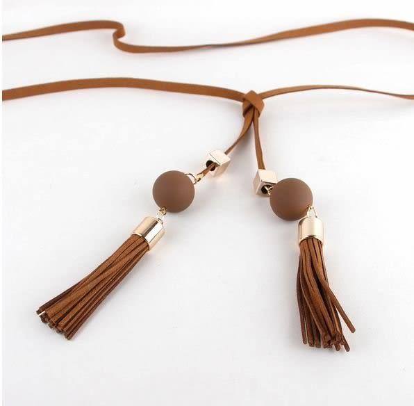 來福腰帶,H659腰繩.珠珠流蘇皮繩造型百變綁式腰繩細腰鏈皮帶腰帶,售價190元