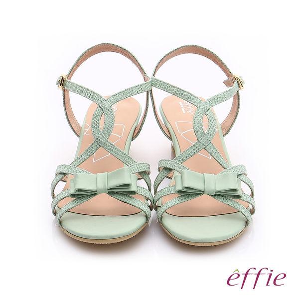 effie  個性涼夏 真皮線條蝴蝶結飾楔型涼鞋  淺綠