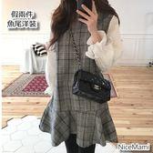 漂亮小媽咪 韓系洋裝 【D2236】 格子 背心裙 襯衫 假兩件 魚尾洋裝 孕婦裝 格紋 魚尾裙