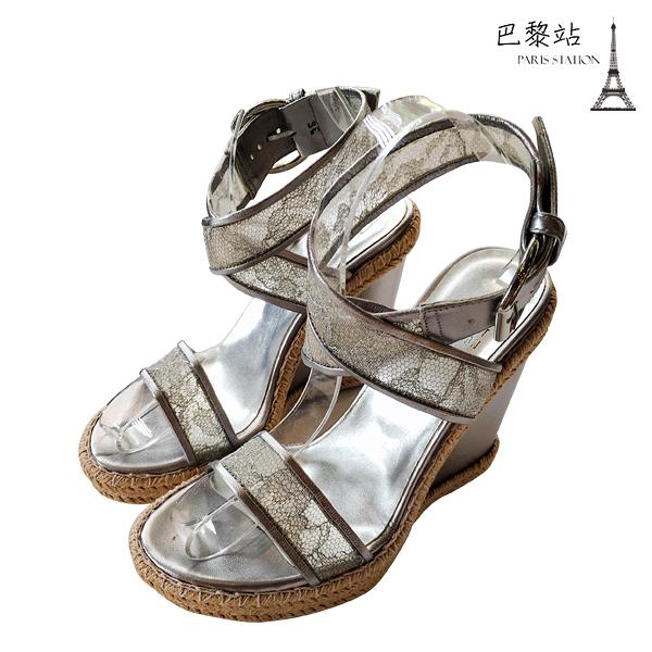 【巴黎站二手名牌專賣店】*全新現貨*Stuart Weitzman 真品*金屬色銀色涼鞋楔型鞋(36號)
