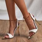 歐美時尚金屬鏈條一字帶尖頭高跟涼鞋女 夜店舞臺表演高跟鞋