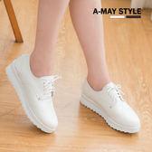 小白鞋-MIT簡約雕花綁帶厚底休閒鞋