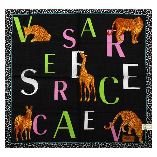 VERSACE 凡賽斯 字母 非洲草原動物 豹紋飾邊帕巾(黑色)989017-19