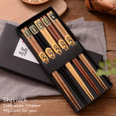 雙12購物節禮盒裝5雙筷原木餐具家用實木五雙裝尖頭禮品
