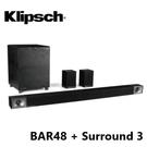 (4月限定) Klipsch 古力奇 Soundbar BAR-48 + Surround 3 無線環繞喇叭 5.1聲道劇院組