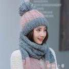 帽子女冬天韓版加厚保暖百搭甜美可愛秋冬季針織圍巾兩件套毛線帽 嬌糖小屋