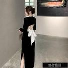 現貨黑色法式氣質輕奢名媛設計感小眾長裙絲絨洋裝年會宴會小禮服女【全館免運】