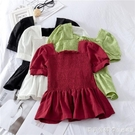 2021夏季新款荷葉邊短袖雪紡衫女褶皺收腰娃娃衫洋氣短款上衣百搭 美眉新品