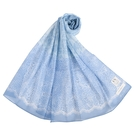 NINA RICCI蕾絲花卉抗UV純綿薄圍巾(水藍色)989403-E
