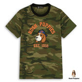 Hush Puppies T恤 男裝純棉經典迷彩刺繡狗短袖T恤