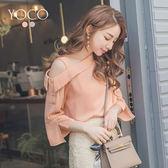 東京著衣【YOCO】柔情香頌單肩吊帶斜肩袖開衩上衣-S.M.L(180472)