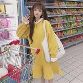新款秋季韓版學生中長款加絨拼接荷葉領寬鬆顯瘦衛衣洋裝女連身裙