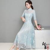 兩件套漢服晚禮服中式中袖禮服蕾絲旗袍晚宴超大擺連身裙 降價兩天