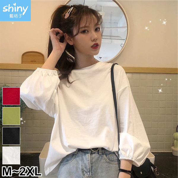 【V3049】shiny藍格子-原宿港風.純色圓領寬鬆燈籠袖上衣