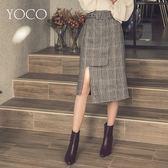 東京著衣【YOCO】時髦IG爆款格紋排扣側開叉附腰帶中長裙-S.M.L(172748)