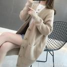 很仙的開衫洋氣百搭上衣秋冬新款寬鬆中長款毛衣外套女針織衫 初語生活