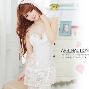 情趣睡衣│甜美雅致白色蕾絲睡衣.內衣褲.蕾絲薄紗丁字褲.性感爆乳情人節禮物推薦哪裡買
