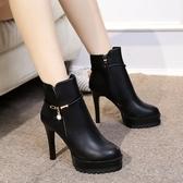 短靴 短靴馬丁靴高跟百搭防水臺圓頭細跟加絨女裸靴