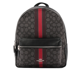 【COACH】緹花布+皮革條紋後背包(灰/黑色) F68034 SVREM